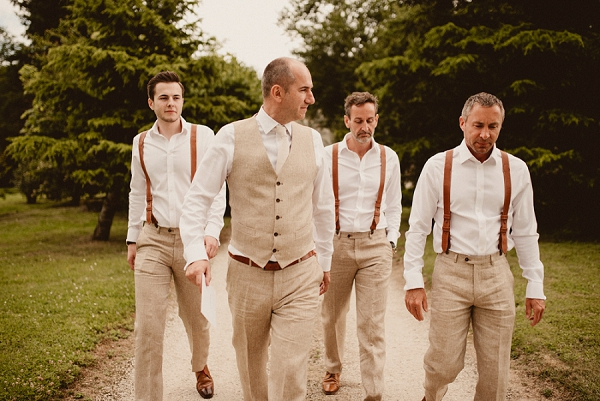cream wedding suits