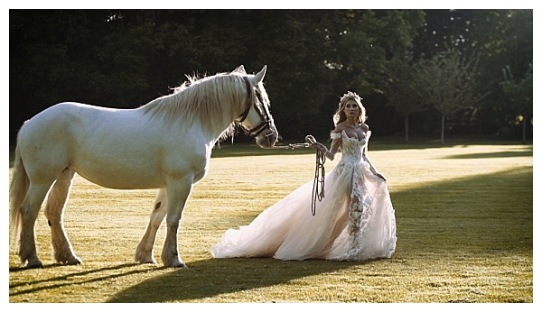Beautiful bride with a horse