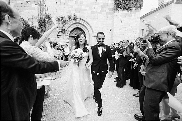 Newlyweds exiting the church
