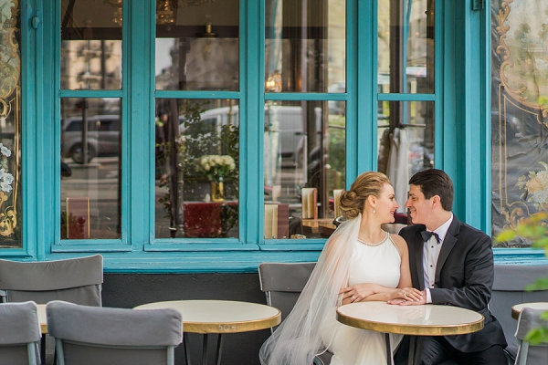 Paris cafe wedding photos