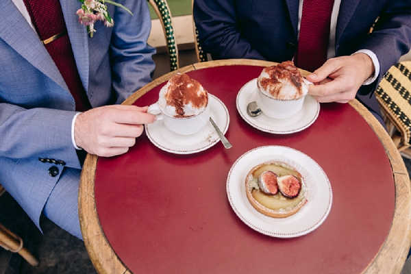 cafe wedding couple