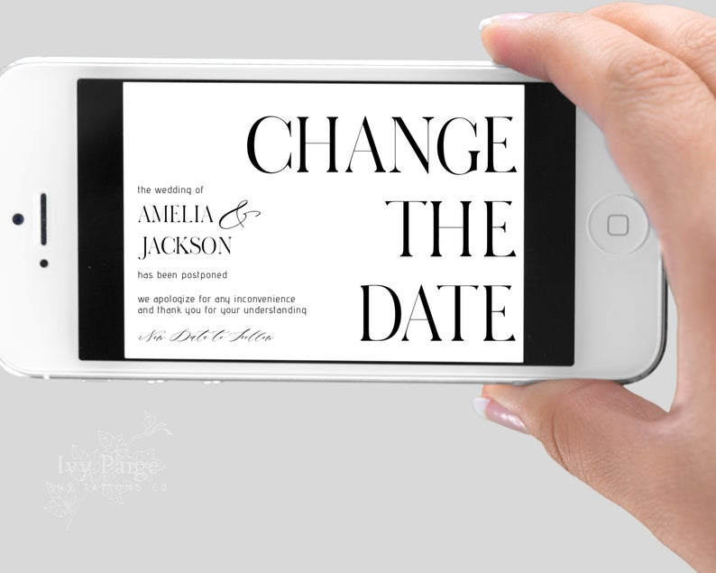 digital Change the Date card if the wedding postponed