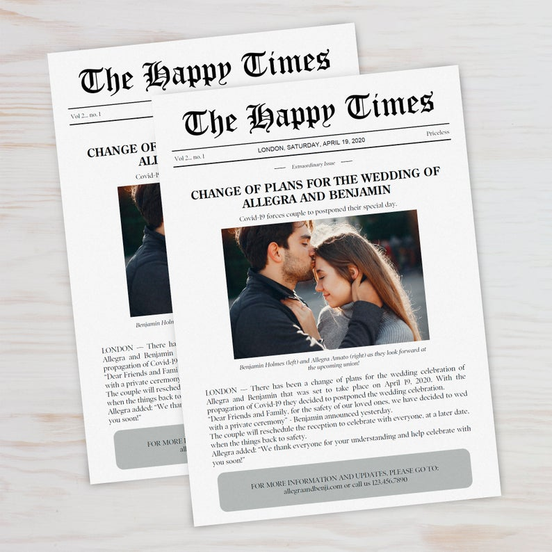 newspaper look wedding postponed cards