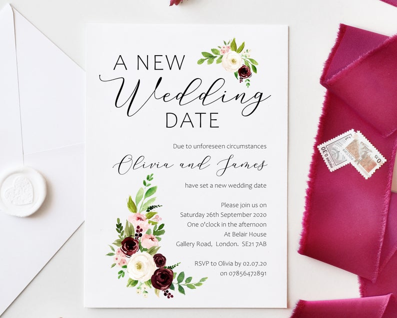 our new wedding date cards