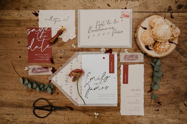 Delicate paper wedding stationery