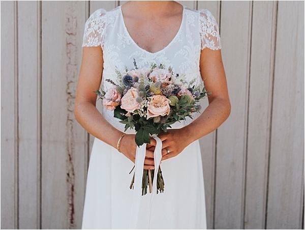 Laure de Sagazan Dress and bouquet