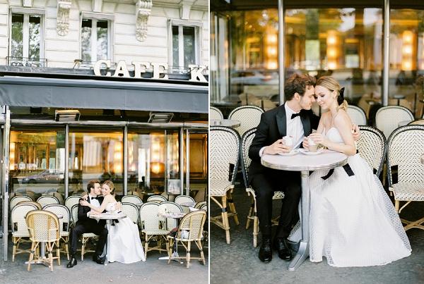 parisian cafe wedding photo