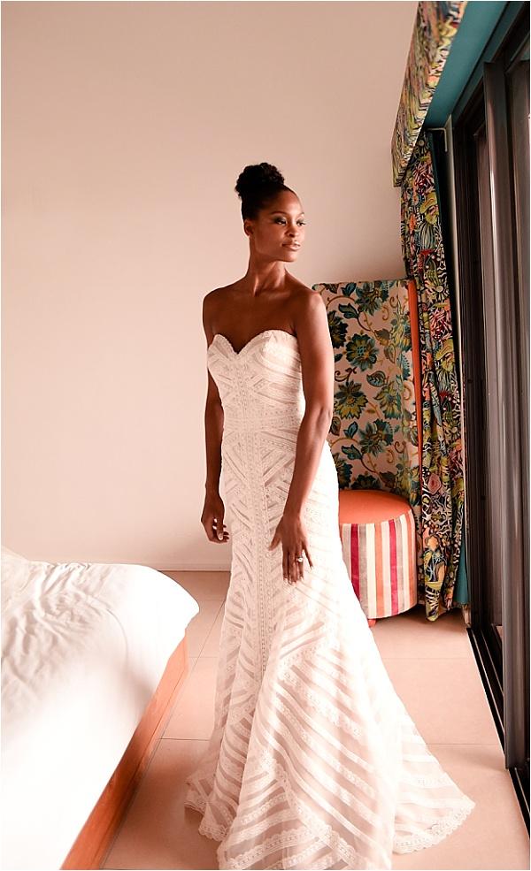 Carribean Bride Champagne Wedding Dress