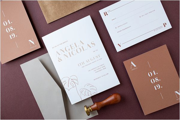Earth tone Tawny wedding stationery suite