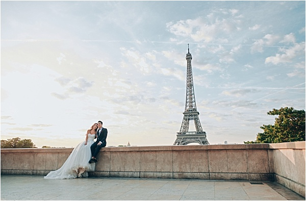 Engagement shoot view of Eiffel Tower