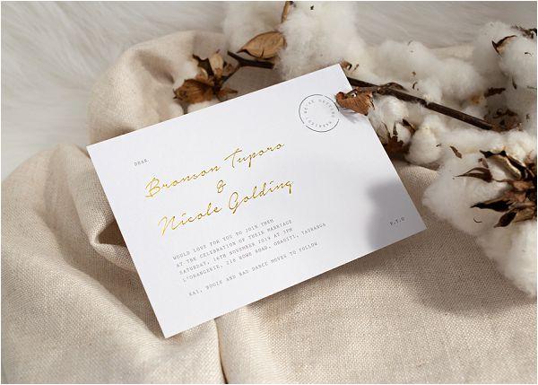 Foil press linen winter wedding stationery