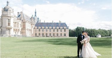 Monique Lhuillier Bride for Chateau de Chantilly wedding
