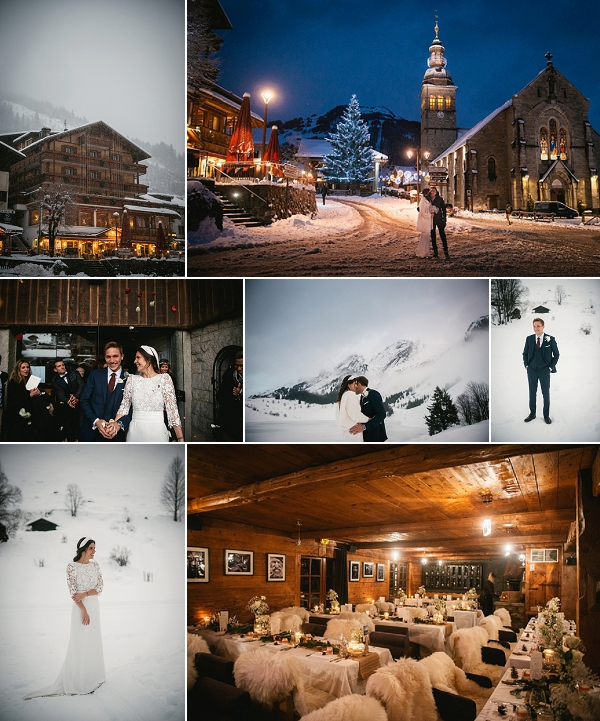 Snowy winter wedding in Alps snapshot
