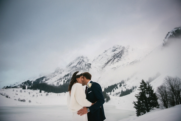 beautiful Snowy winter wedding in Alps