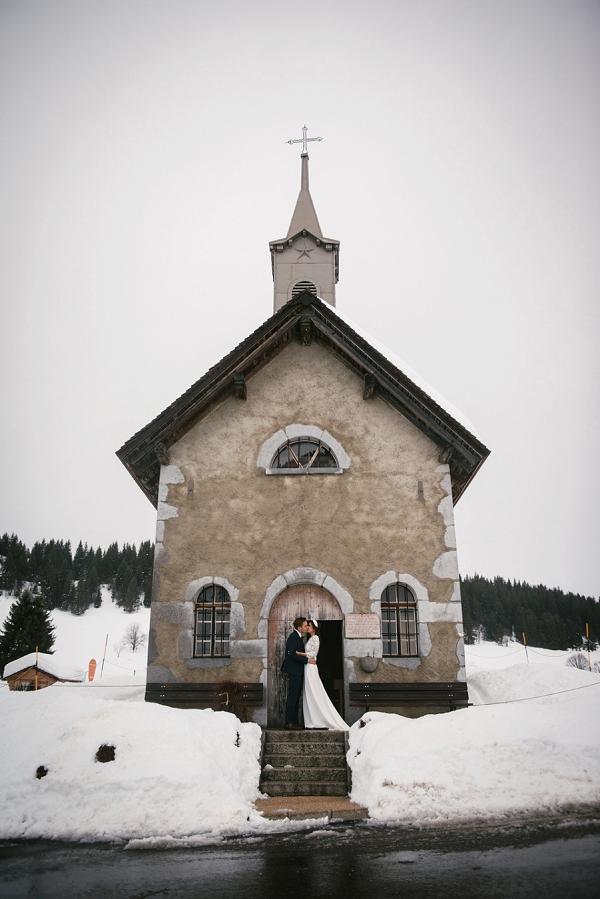 church Winter wedding in Alps