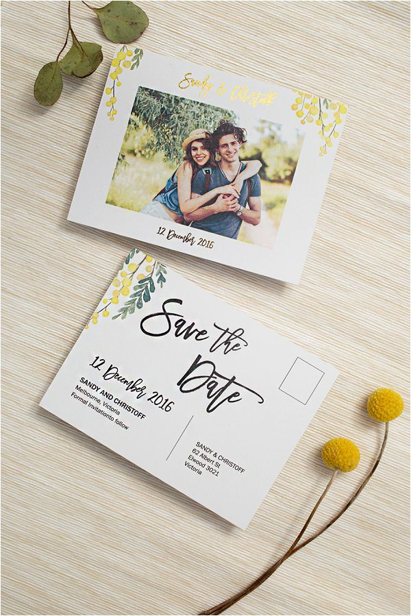 floral theme wedding invitation in golden colors