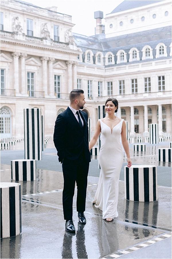 Beautiful couple in stylish paris