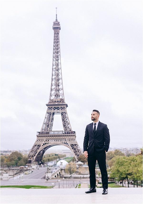 Groom at eiffel tower