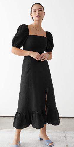 Linen Puff Sleeve Midi Dress