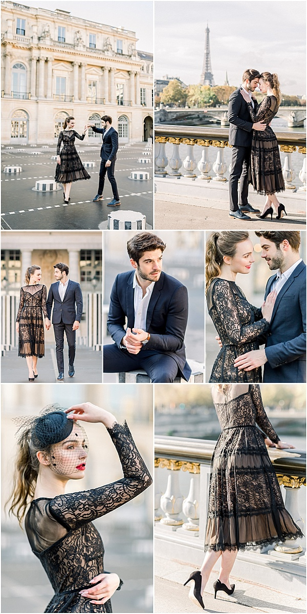 Old World Glam Engagement Session in Paris Snapshot