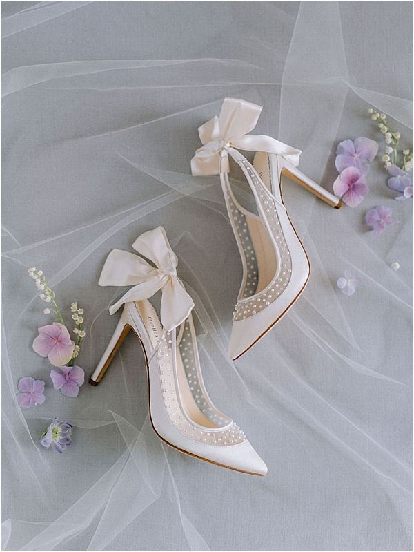 Bella Belle White Shoes with Pearls and Bows | Image by Laura Gordon