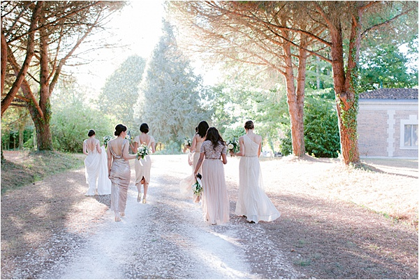 Bridal party beautiful french landscape