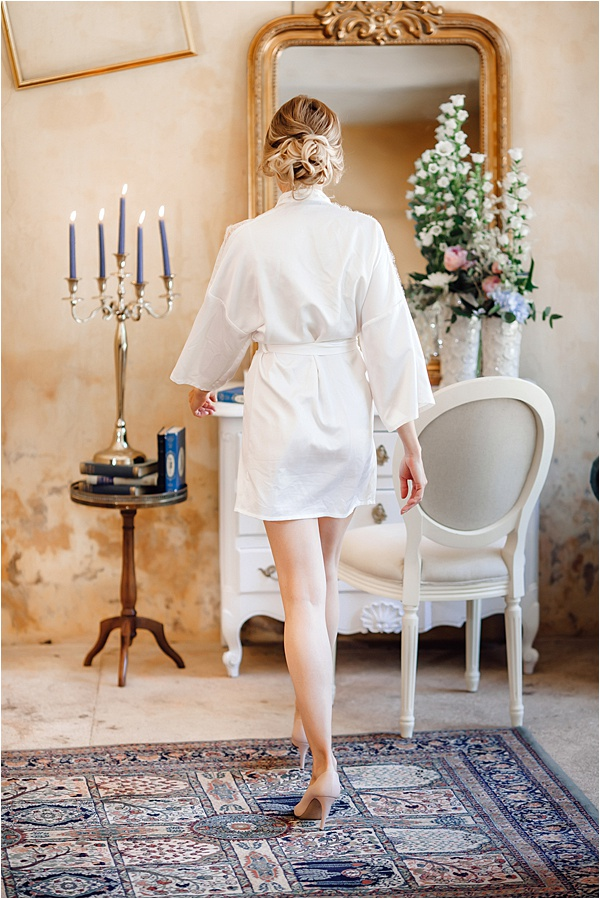 Bride getting ready in the orangery