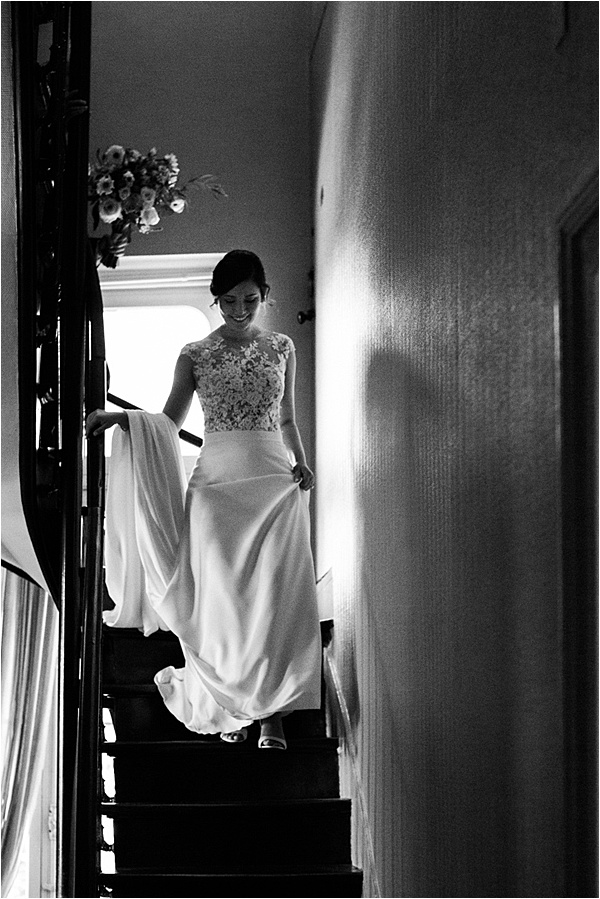 Bride going down the steps