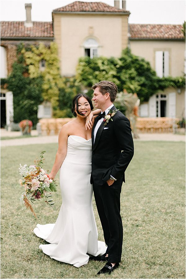 Chic Bride and Groom at their Chateau de Malliac Wedding