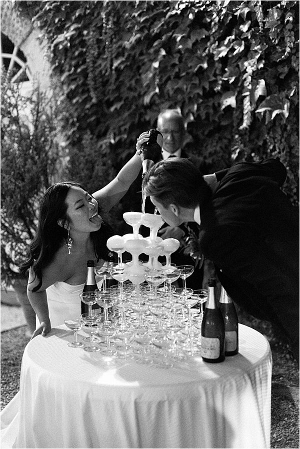 Chic Chateau de Malliac Wedding Champagne Tower