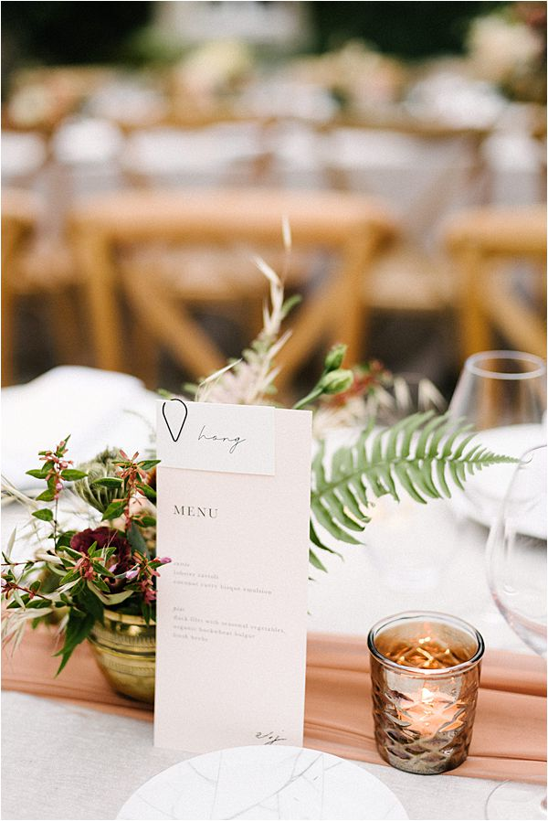 Chic Chateau de Malliac Wedding Menu