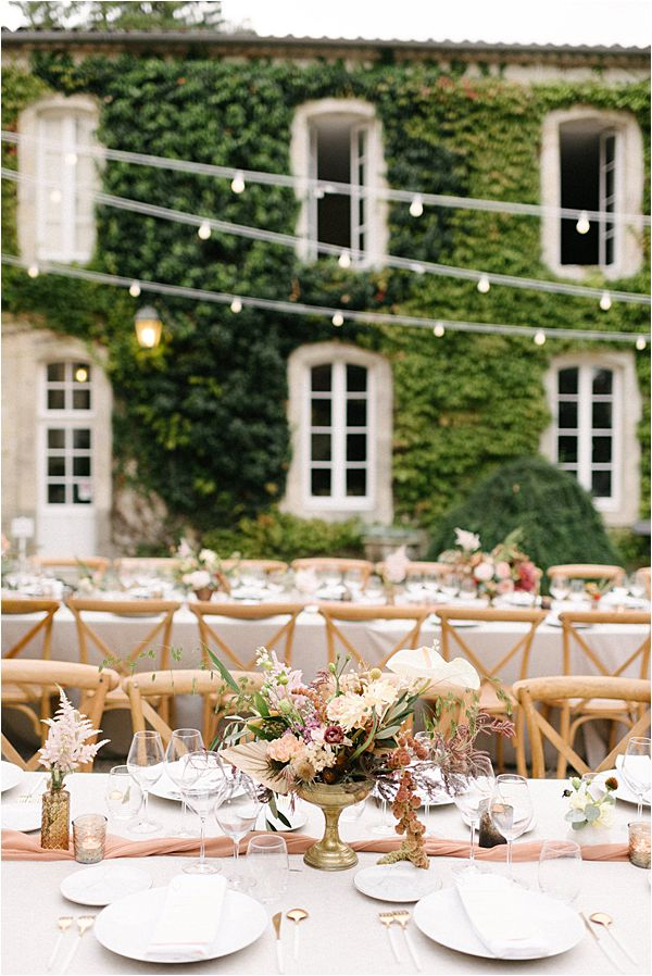 Chic Chateau de Malliac Wedding Reception Table