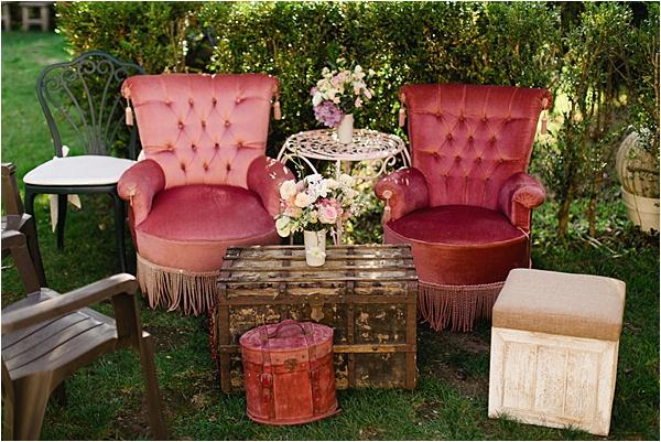 Couple's garden seating area