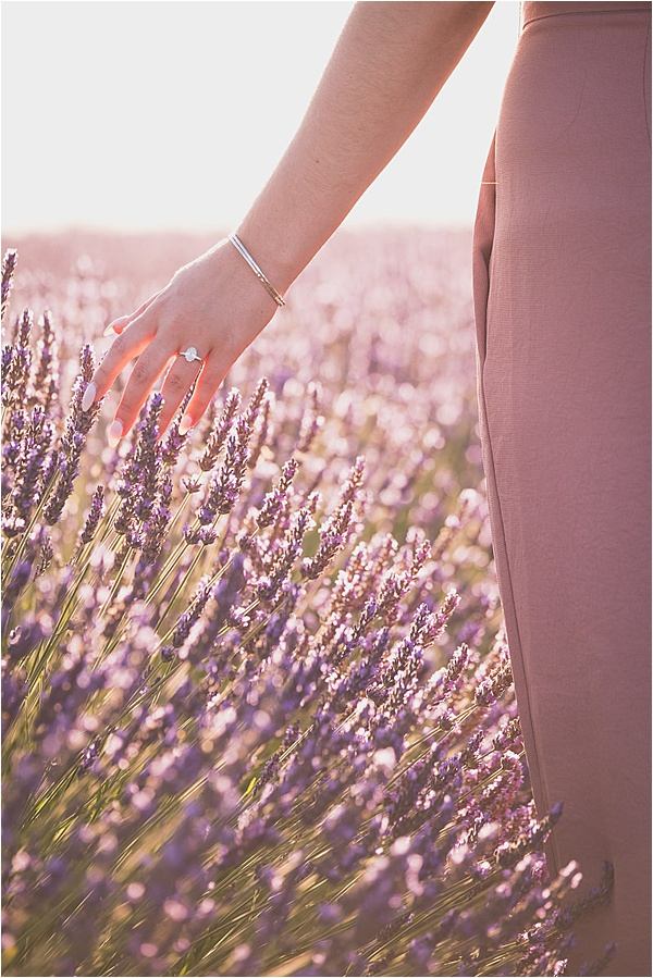 Engagement ring in lavender field