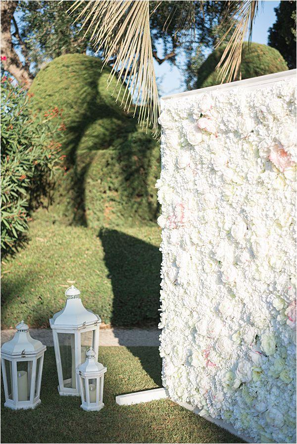 Flower wall at Villa Ephrussi de Rothschild wedding
