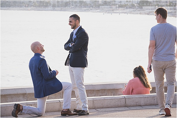 Gay couple proposing at the french riviera
