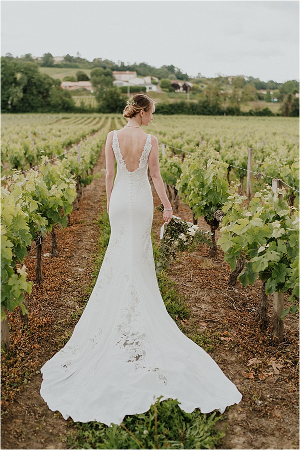 Gorgeous bride in vineyard