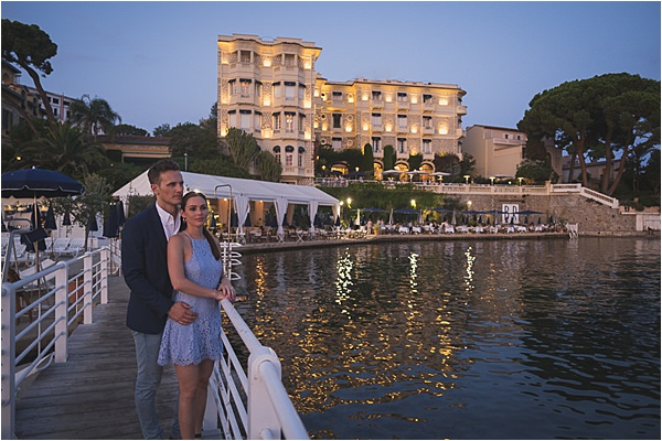 Newly engaged couple enjoying the view at the french riviera