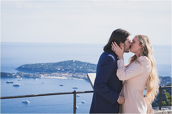 Sealing the engagement with a kiss