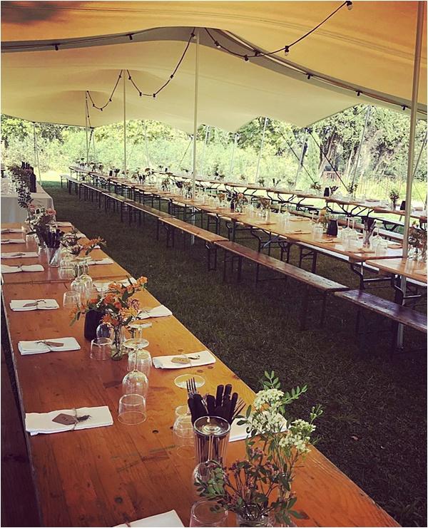 Tent wedding reception setup