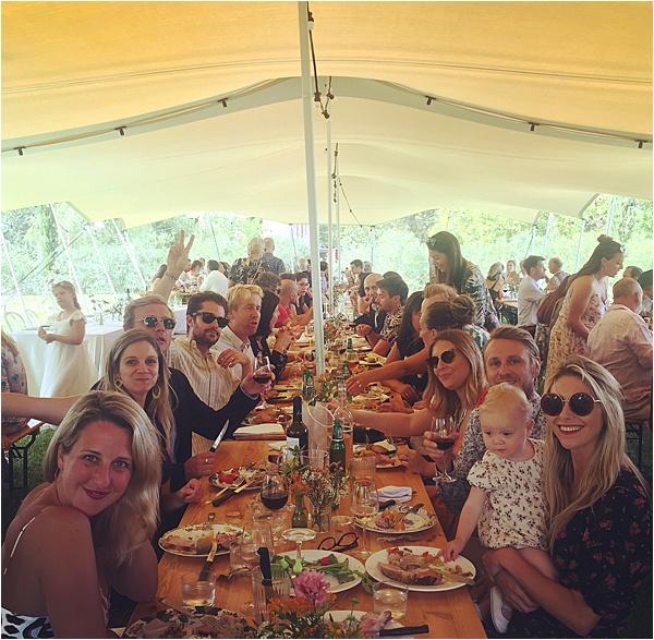 Wedding party enjoying the reception