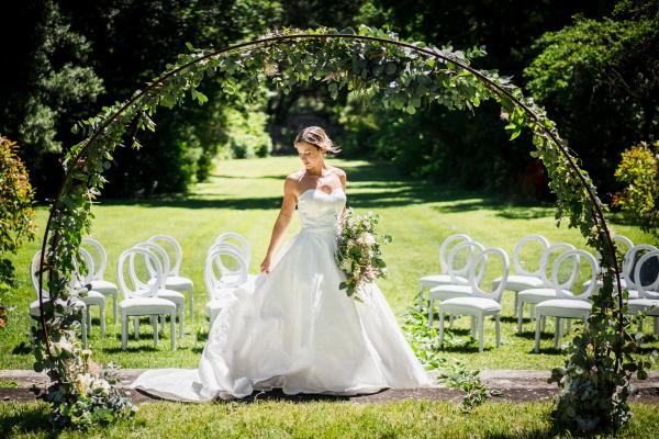 French bride under arbor