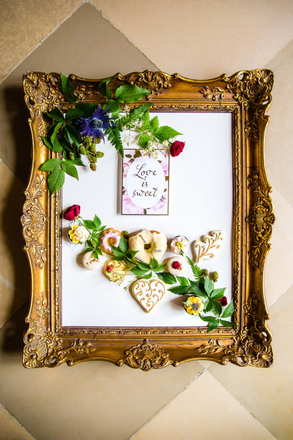 Gilded mirror with wedding favours