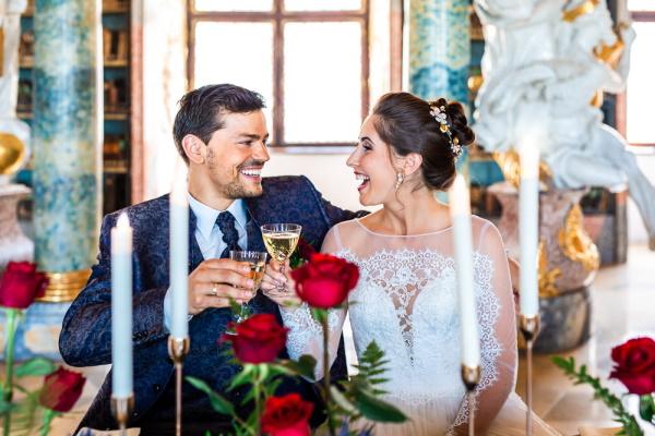 Bride Belle and Groom Beast make a toast