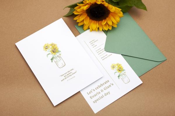 Rustic Wedding Invitation Ideas using sunflowers