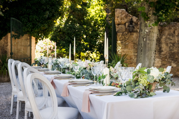 Simple French wedding table setting