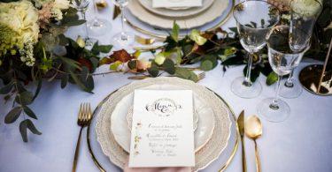 Wedding Table Setting and Menu