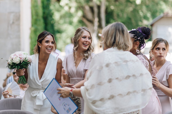 bride celebrates with family