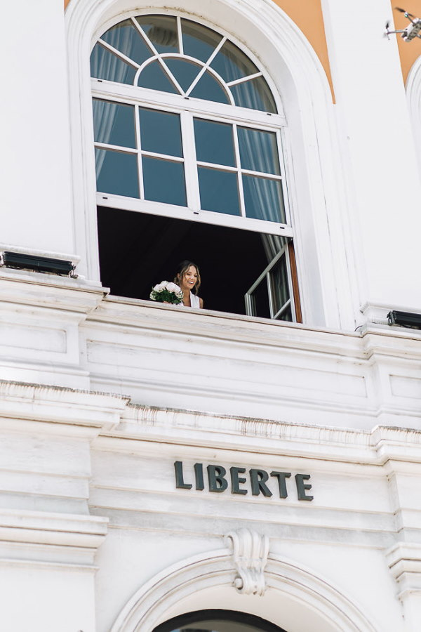 bride at town hall civil ceremony