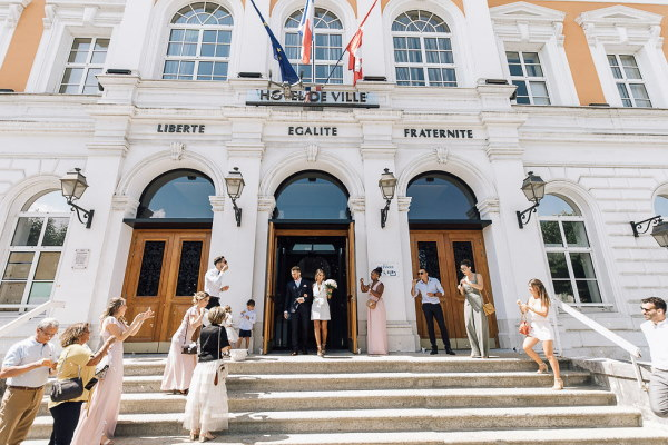 couple leaves civil ceremony in france